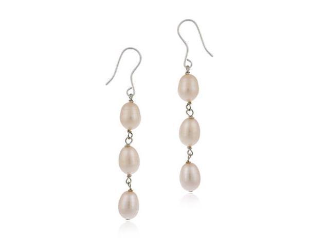 Sterling Silver Baroque Freshwater Cultured Pink Pearl Drop Earrings