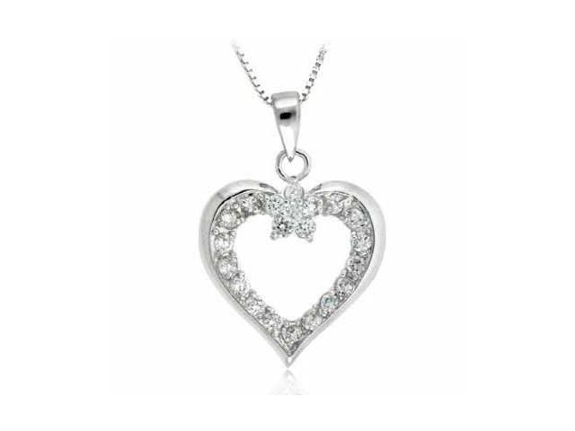 Sterling Silver Simulated Diamond CZ open Heart Pendant