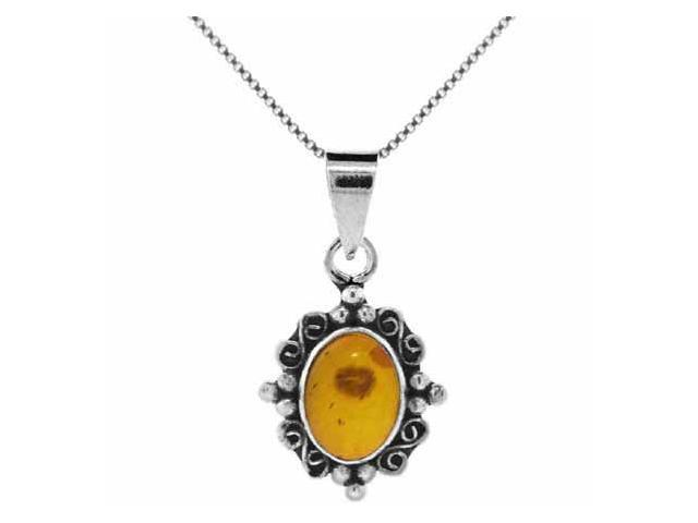 Sterling Silver Genuine Amber stone Pendant