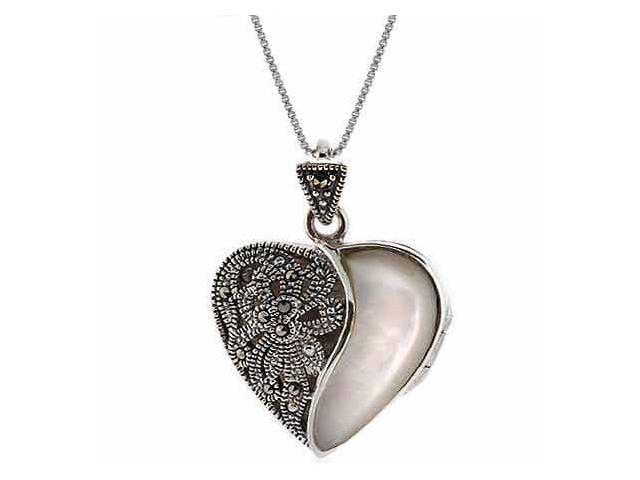 Sterling Silver Genuine Mother of Pearl and Marcasite Stone Heart Pendant