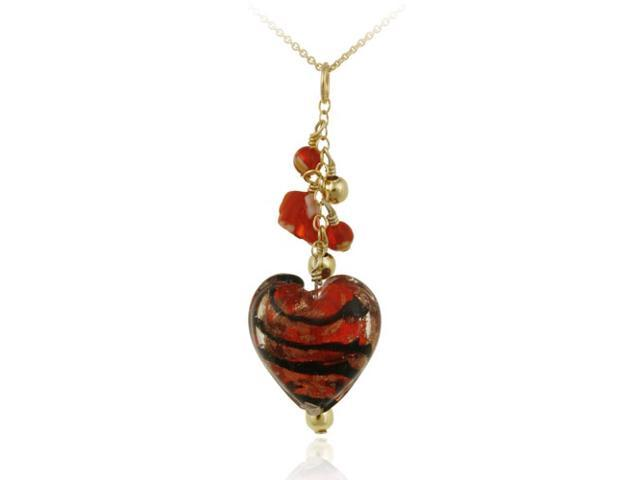 18K Gold over Sterling Silver Red Glass Cluster Heart Pendant