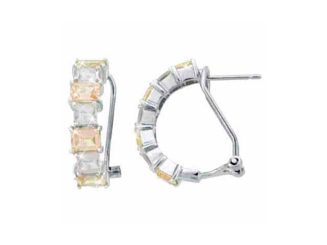 Sterling Silver Champagne CZ and Simulated Diamond cz Half Hoop Earrings