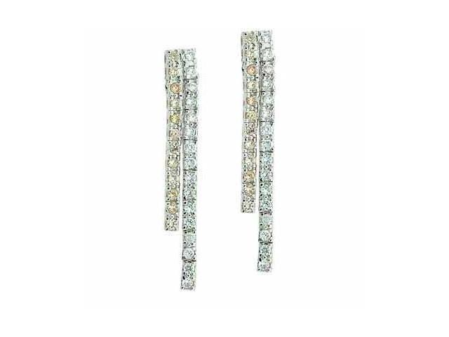 Sterling Silver Champagne and Simulated Diamond CZ Bar Earrings
