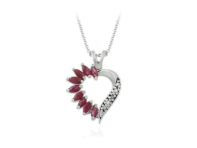Sterling Silver Genuine Ruby and Genuine Diamond Accent Heart Pendant