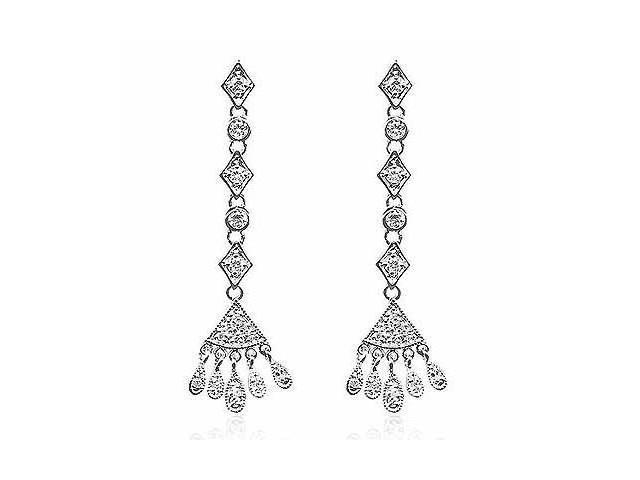 Celebrity Long Chandelier Circle Geometric Simulated Diamond CZ Silver Earrings