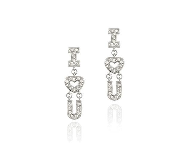 I Heart / Love You Sterling Silver and Simulated Diamond CZ Earrings