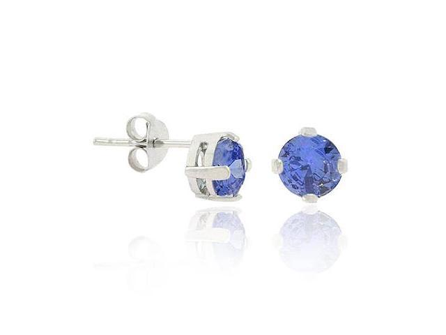 Sterling Silver .925 Simulated Tanzanite cz Stone 5mm Prong Round Stud Earrings
