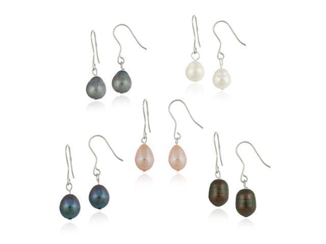 Sterling Silver 5 Pair Baroque Freshwater Cultured Pearl Earrings Set