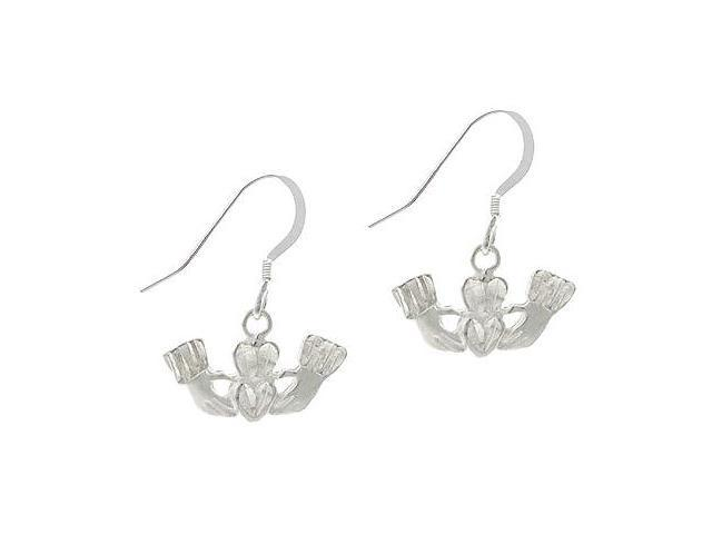 Sterling Silver .925 Claddagh Symbol Hand Heart Dangle Love Earrings