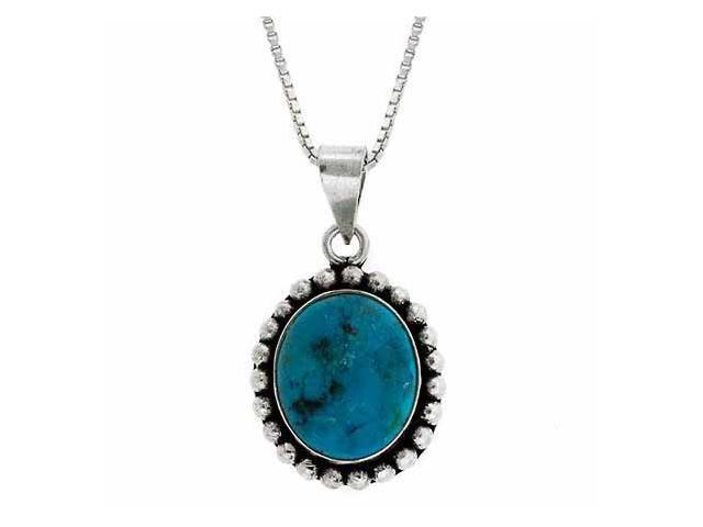 Serling Silver Reconstituted Blue Turquoise Stone Bali Bead Oval Pendant