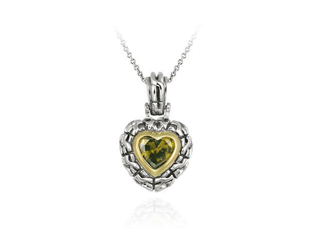 Sterling Silver Two Tone Designer Inspired Olive CZ Heart Pendant w/ Braided Bor