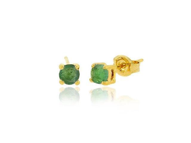 18K Gold over Sterling Silver 4mm Round Emerald Stud Earrings