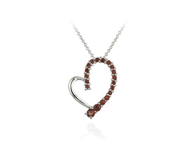 Sterling Silver Garnet Floating Open Heart Pendant