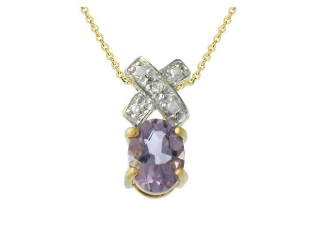 18k Gold over Silver Diamond Accent & Amethyst 'XO' Pendant