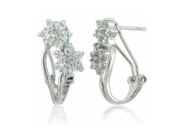 Sterling Silver Simulated Diamond CZ Flower Earrings
