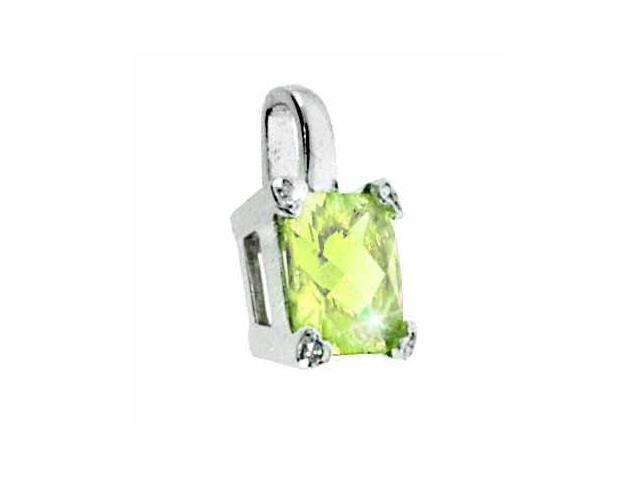 Sterling Silver Light Green cubic zirconia and Simulated Diamond CZ Square Heart