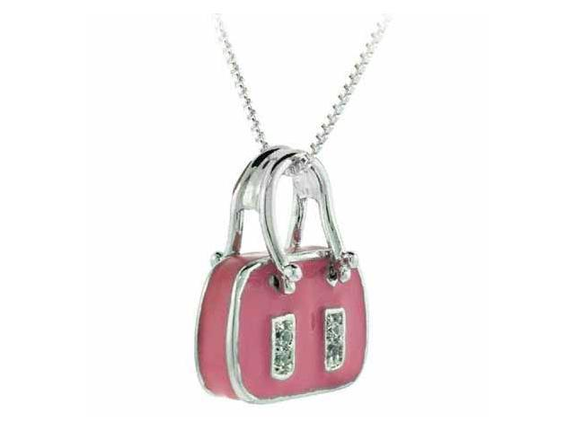 Sterling Silver Simulated Diamond cz Pink Enamel Purse Pendant