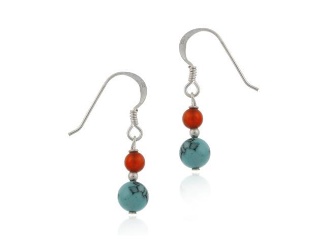 Fish Hook Turquoise & Carnelian Earrings