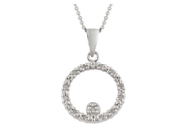 Sterling Silver 1/8 CTW Diamond Open Circle Pendant