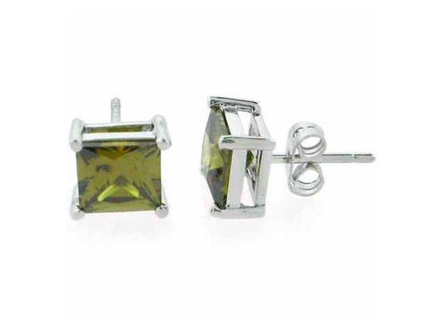 Sterling Silver Dark Green cz Square Stud Earrings