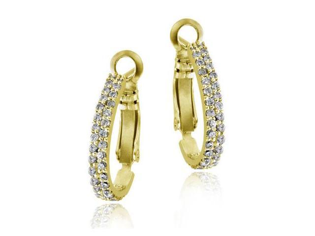 18k Gold over Silver Two Row CZ Half Hoop Earrings