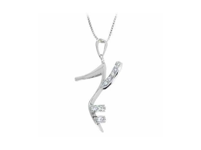 Sterling Silver Diamond Cubic Zirconia Fancy Shoe Pendant