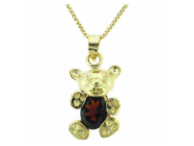 Vermeil (24k Gold over Sterling Silver) Genuine Garnet Teddy Bear Pendant