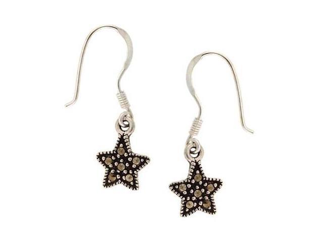 Sterling Silver & Marcasite Star Shaped Dangle Earrings