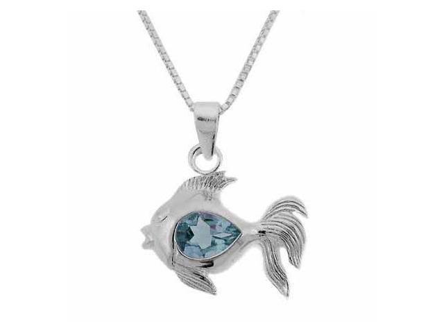 Sterling Silver Genuine Blue Topaz Stone Fish Pendant