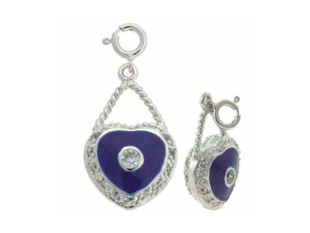 Sterling Silver Simulated Diamond CZ Blue Enamel Heart Pendant and Charm
