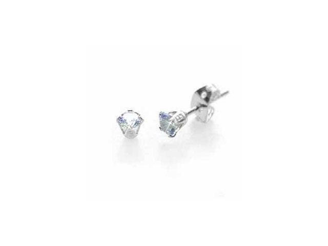 Sterling Silver Lavender CZ Stud Earrings