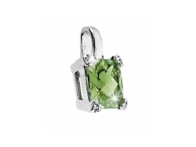Sterling Silver Olive Green cubic zirconia and Simulated Diamond CZ Square Heart