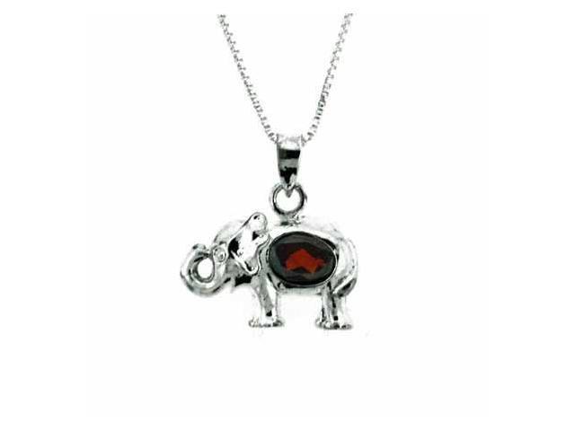 Sterling Silver Genuine Garnet Elephant Pendant