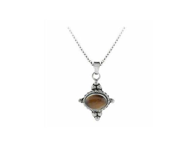 Sterling Silver Bali Beaded Genuine Tiger Eye Stone East West Pendant