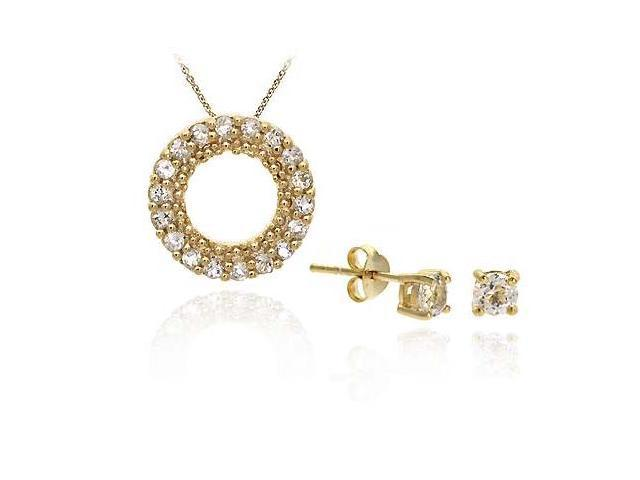 18K Gold/ Sterling Silver CZ Pendant Stud Earring Set