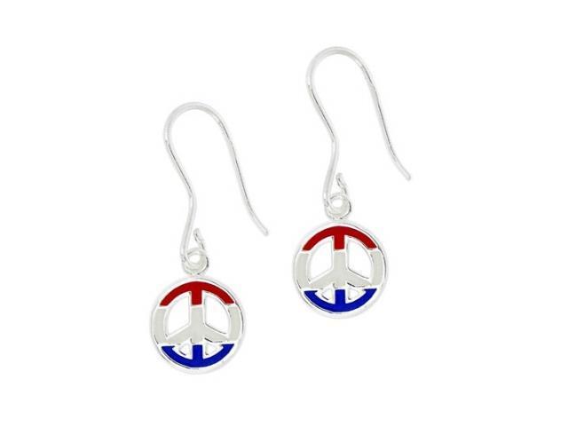 Sterling Silver USA Enamel Peace Sign Earrings