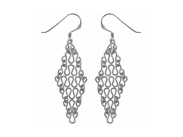 Sterling Silver Swirl flexible Link Chandelier Earrings