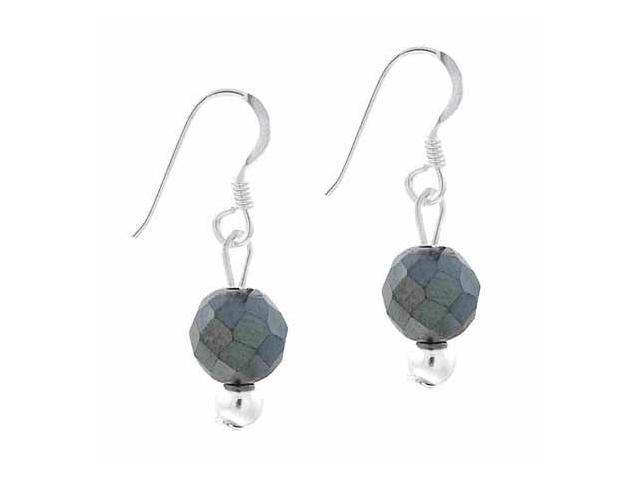Sterling Silver 6mm Genuine Faceted Hematite Stone Bead Beaded Dangle Hook Earri