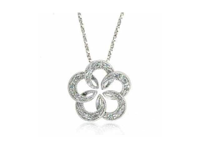 Sterling Silver Simulated Diamond CZ Open Flower Pendant ~ Bridesmaid Gift