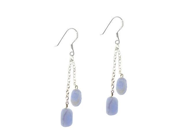 Sterling Silver Genuine Lace Agate Stone Double Earrings
