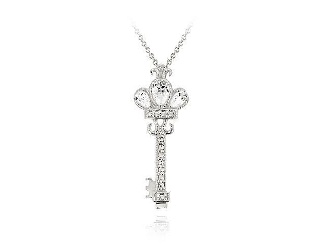 Sterling Silver Designer Inspired Royal Crown CZ Key Pendant