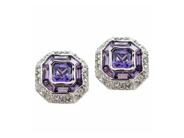 Sterling Silver Modern Octagon Simulated Amethyst cz and Simulated Diamond cz Ea