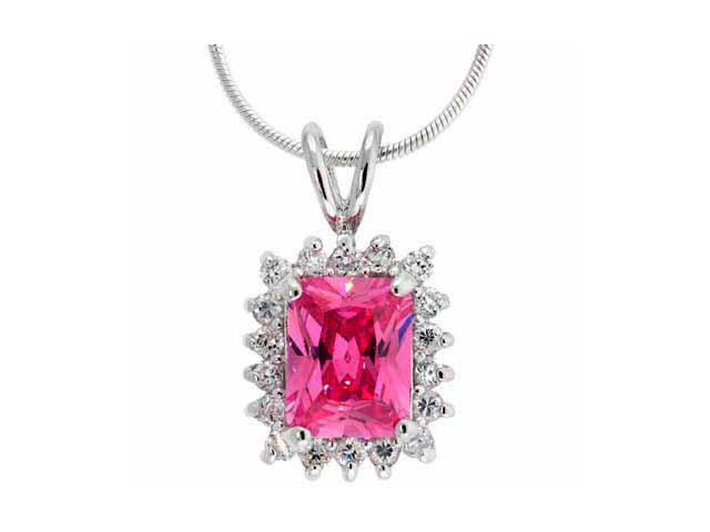 Sterling Slver Created Pink Sapphire and Simulated Diamond CZ Rectangle Pendant