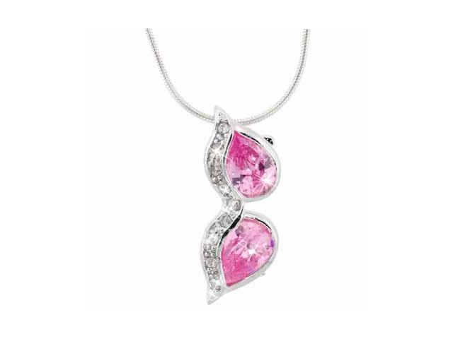 Sterling Silver Pink CZ and Simulated Diamond CZ Sunglasses Pendant
