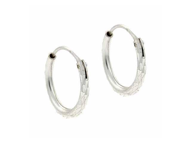 Sterling Silver Etched Mini Hoop 12 mm Earrings