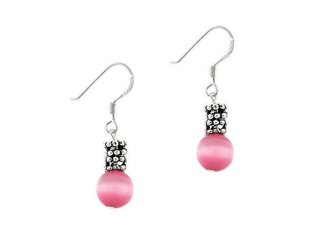 Sterling Silver .925 Simulated Pink Cats Eye Bead 8mm Dangle Bali Bead Earrings