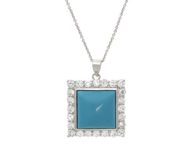 Sterling Silver Reconstituted Turquoise CZ Square Pendant