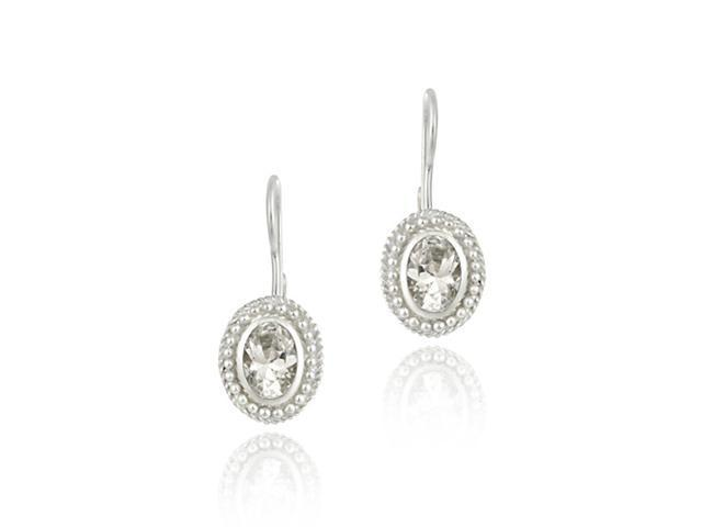 Sterling Silver Simulated Diamond cz Oval LeverBack Lever Back Earrings