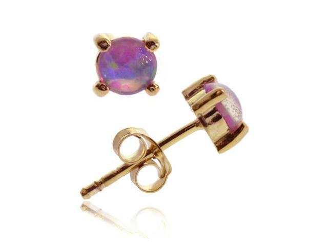 18K Gold Over Sterling Silver Created Pink Opal 6mm Round Stud Earrings