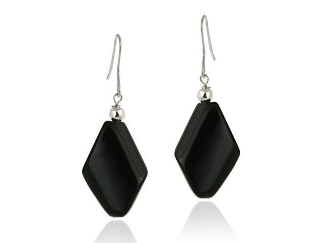 Sterling Silver Onyx Geometric Dangle Earrings